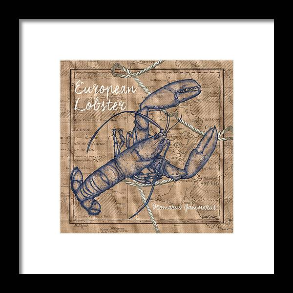 Lobster Framed Print featuring the mixed media Burlap Lobster by Debbie DeWitt
