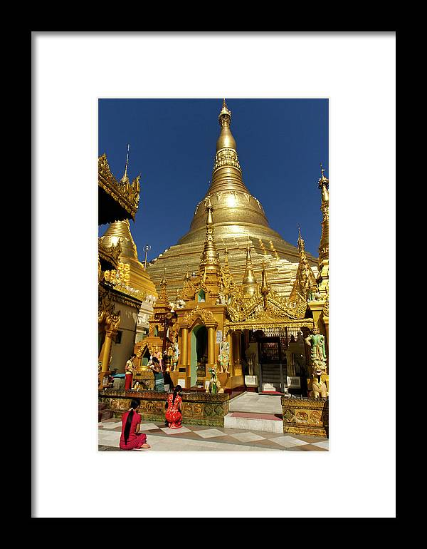 Asia Framed Print featuring the photograph Burma's Golden Pagoda by Michele Burgess