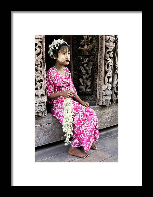 075burma's Golden Pagodaasia Framed Print featuring the photograph Burmese Flower Vendor by Michele Burgess