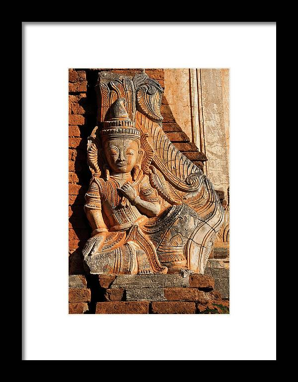 Asia Framed Print featuring the photograph Burmese Pagoda Sculpture by Michele Burgess
