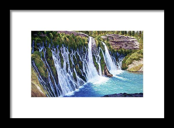 Burney Falls In Northern California Framed Print featuring the painting Burney Falls by Donald Neff