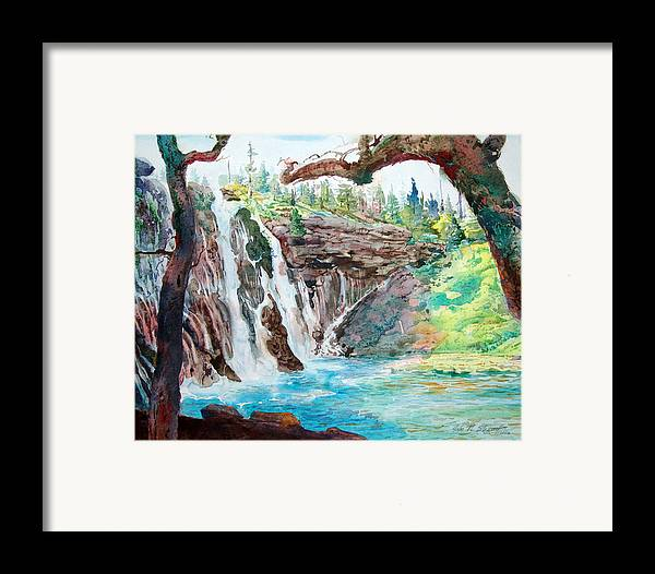 Watercolor Framed Print featuring the painting Burney Falls by John Norman Stewart