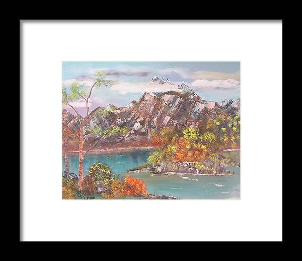 Landscape Framed Print featuring the painting Burning Bush by Mikki Alhart