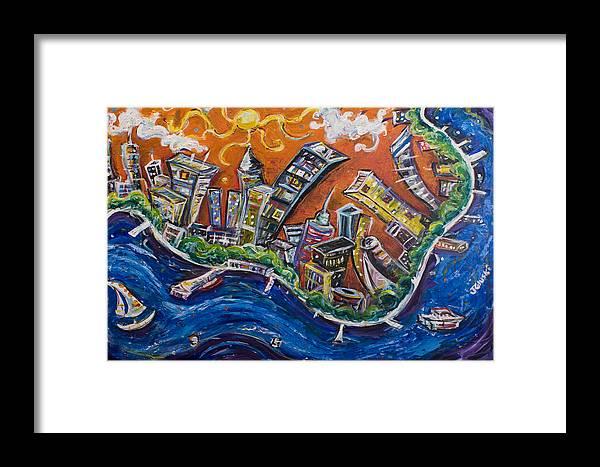 New York City Manhattan Hudson River Framed Print featuring the painting Burning City by Jason Gluskin