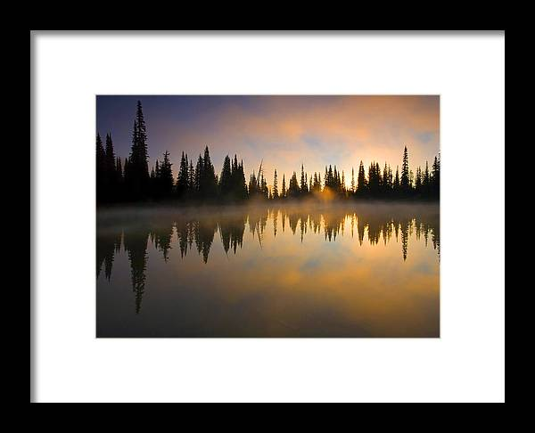 Lake Framed Print featuring the photograph Burning Dawn by Mike Dawson