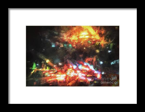 Abstract Framed Print featuring the digital art City Of Burning Lights by Davy Cheng