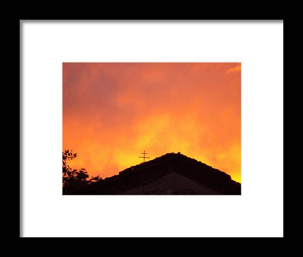 Landscape Framed Print featuring the photograph Burning Sky Over Church by David Du Hempsey