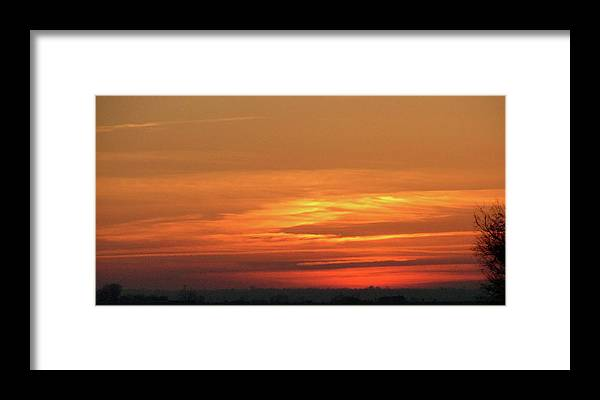 Sky Framed Print featuring the painting Burning Sunset by Dawn Blair