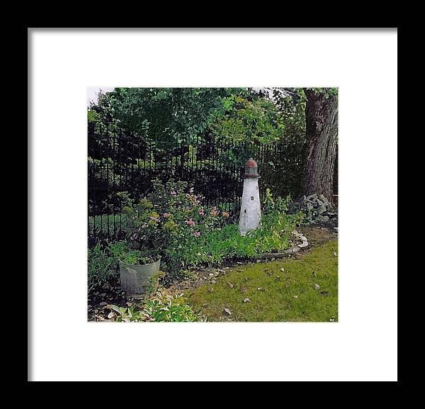Cedric Hampton Framed Print featuring the photograph Burnside Garden Lighthouse by Cedric Hampton