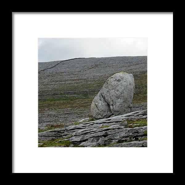 The Burren Framed Print featuring the photograph Burren Boulder by Dawn Richerson