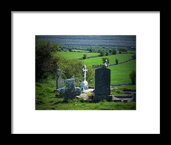Irish Framed Print featuring the photograph Burren Crosses County Clare Ireland by Teresa Mucha