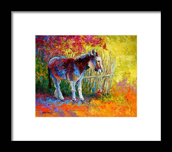 Western Framed Print featuring the painting Burro And Bouganvillia by Marion Rose