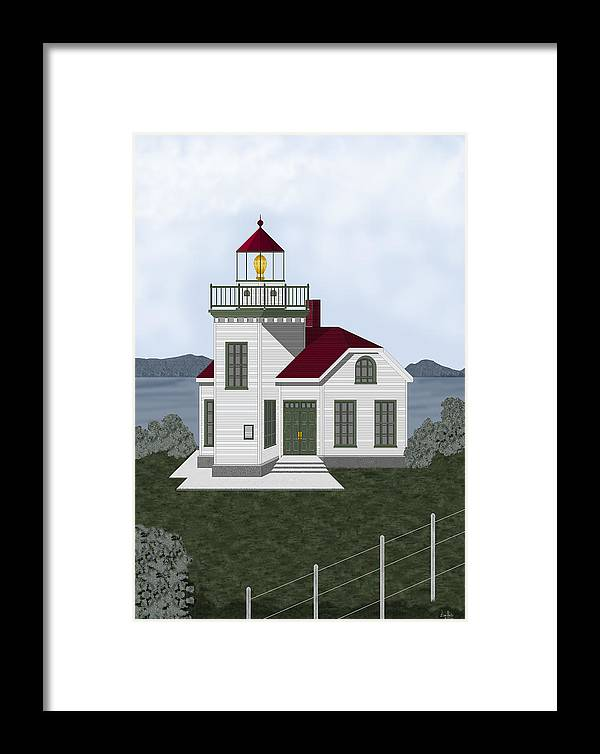 Burrows Island Lighthouse Framed Print featuring the painting Burrows Island Lighthouse by Anne Norskog