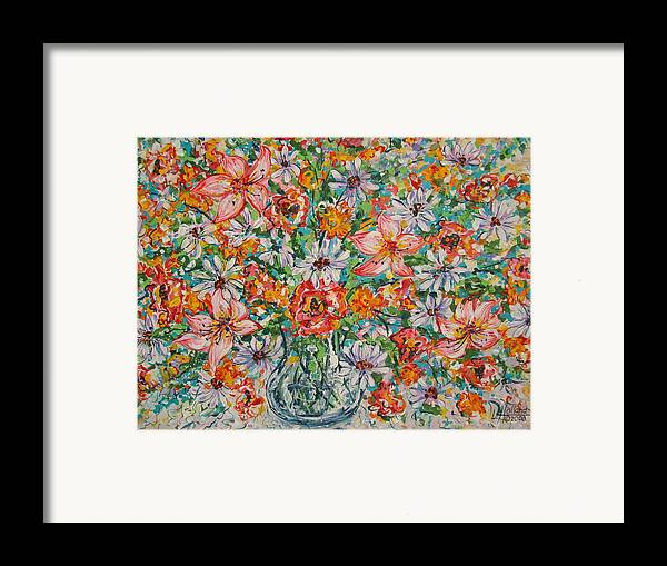 Flowers Framed Print featuring the painting Burst Of Flowers by Leonard Holland