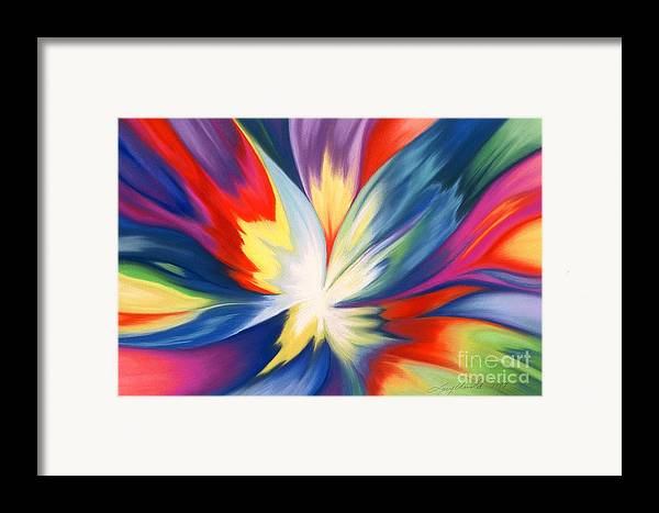 Abstract Framed Print featuring the painting Burst Of Joy by Lucy Arnold