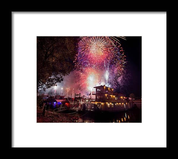 Fireworks Sternwheel Festival Marietta Ohio River Framed Print featuring the photograph Burst Of Light by Danny Carpenter