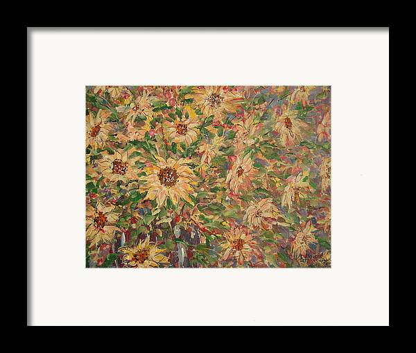 Flowers Framed Print featuring the painting Burst Of Sunflowers. by Leonard Holland