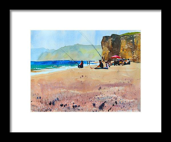 Burton Bradstock Framed Print featuring the painting Burton Bradstock Beach by Ibolya Taligas