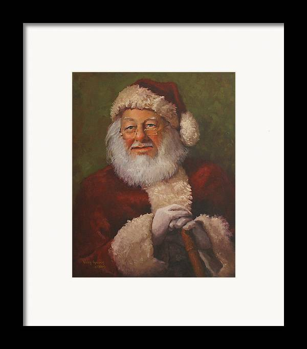 Portrait Framed Print featuring the painting Burts Santa by Vicky Gooch