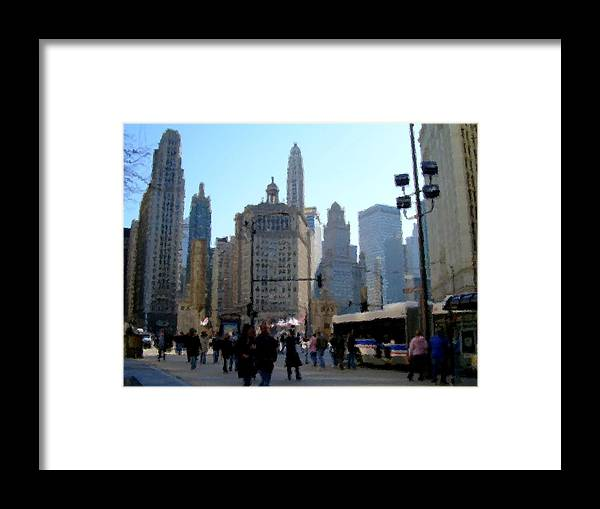 Archtecture Framed Print featuring the digital art Bus On Miracle Mile by Anita Burgermeister