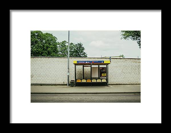 Bus Stop Framed Print featuring the photograph Bus Stop In Poland by Pati Photography