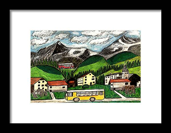 Switzerland Art Drawing Mixed Media Travel Landscape Tour Places Europe Houses Mountains Cows Framed Print featuring the painting Bus Travel by Monica Engeler