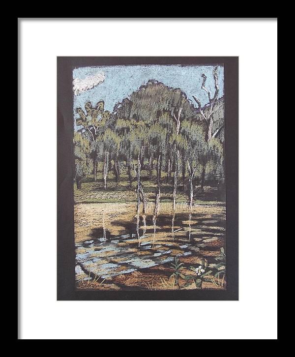 Landscape Framed Print featuring the painting Bush Dam Impression by Serena Valerie Dolinska
