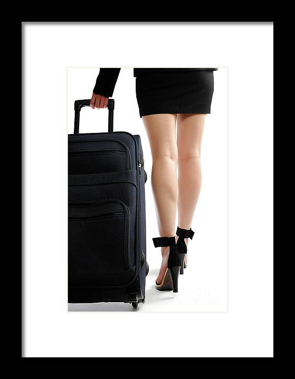 Journey Framed Print featuring the photograph Businesswoman With A Trunk by Oleksiy Maksymenko