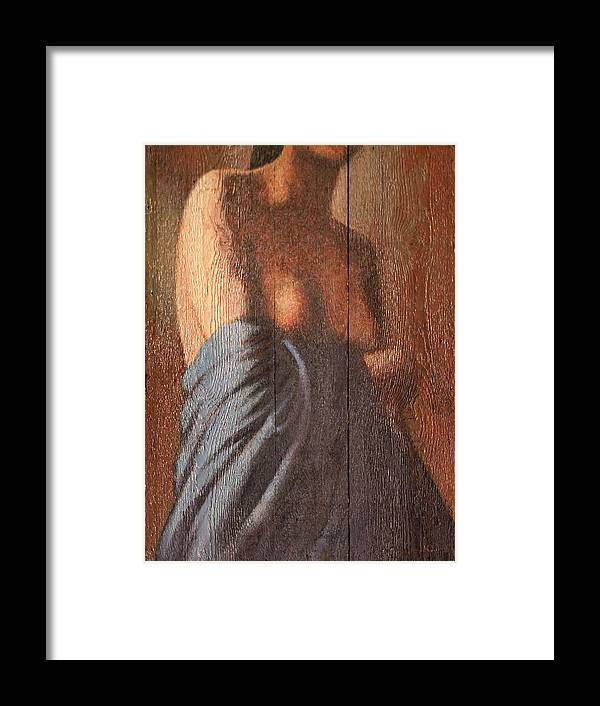 Female Torso Framed Print featuring the painting Buste On Wood by James LeGros