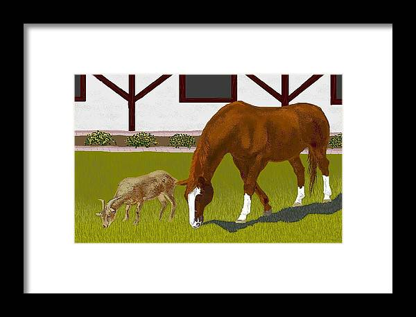 Horses Framed Print featuring the digital art Buster And Ruby by Carole Boyd