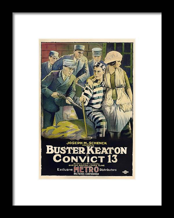 Movie Framed Print featuring the mixed media Buster Keaton In Convict 13 1920 by Mountain Dreams