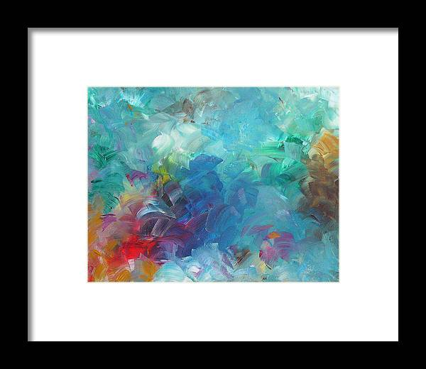 Abstract Framed Print featuring the painting Busy Day by Peggy King