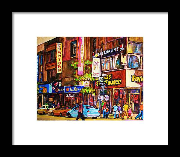 Cityscape Framed Print featuring the painting Busy Downtown Street by Carole Spandau