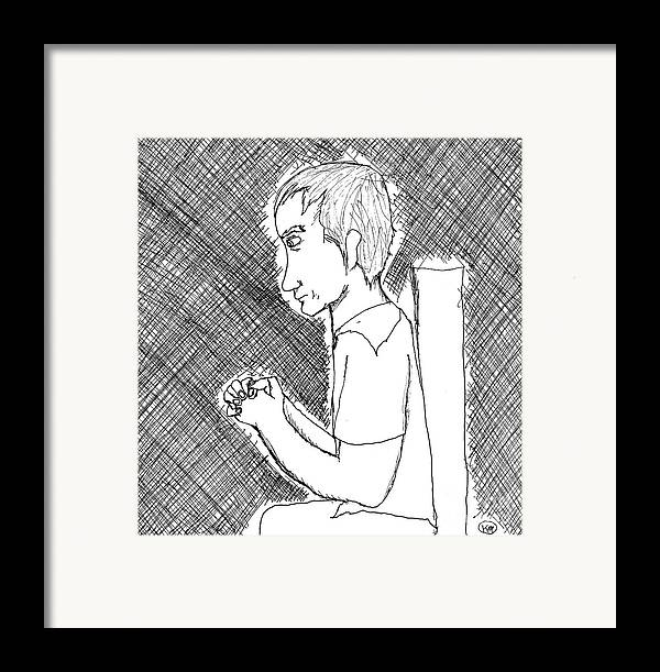Man Framed Print featuring the drawing But Maybe I Can Help Her Somehow by Karli Martin