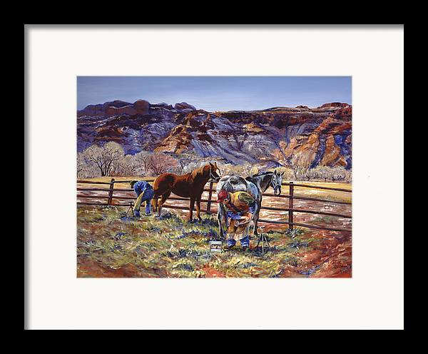 Horse Framed Print featuring the painting Butch And Clayton Swapping Shoes And Tales by Page Holland