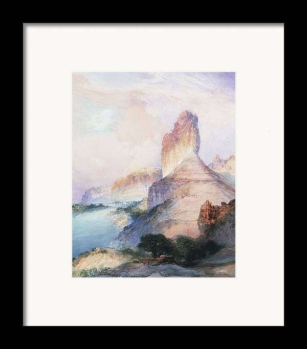Thomas Moran Framed Print featuring the painting Butte Green River Wyoming by Thomas Moran