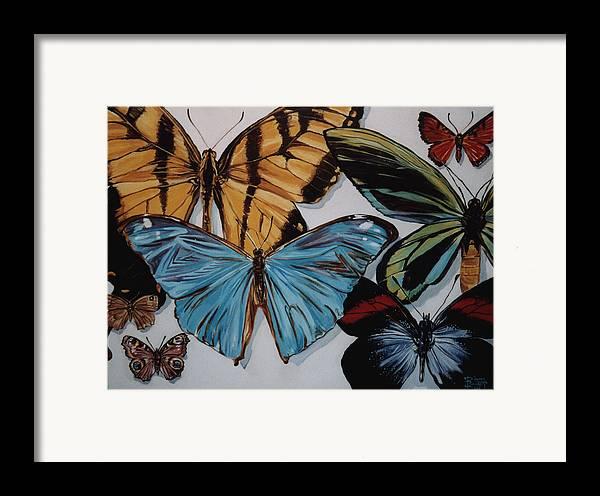 Butterflies Framed Print featuring the painting Butterflies by Diann Baggett