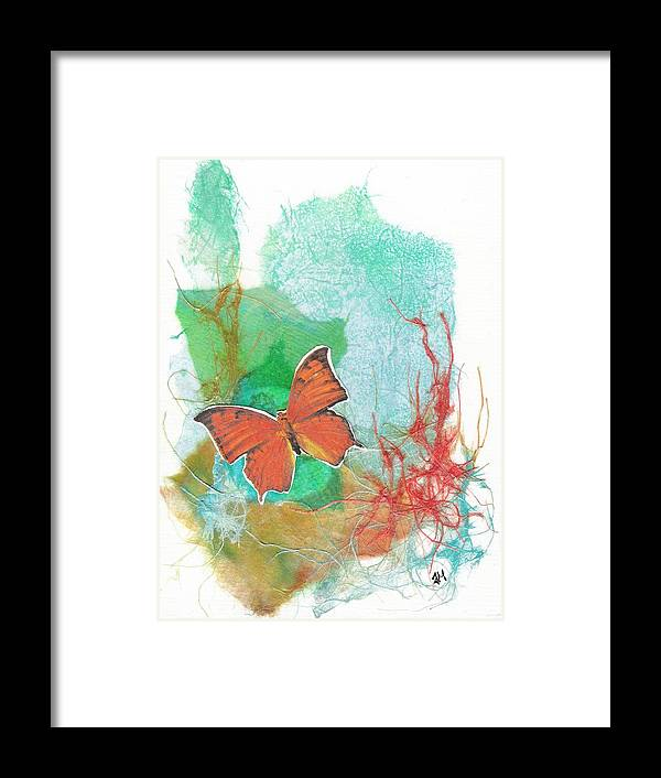 Non-representational Framed Print featuring the mixed media Butterflies in Blue Skies by Tara Milliken