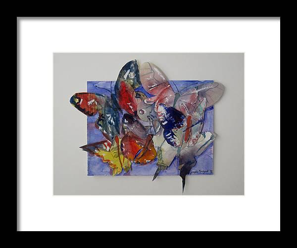 Butterflies Framed Print featuring the painting Butterflies In Flight by Joyce Kanyuk