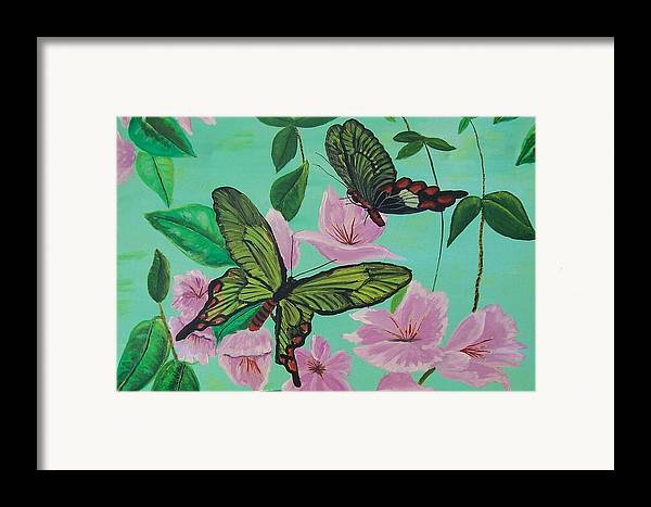 Butterfly Framed Print featuring the painting Butterflies In Flight by Martha Mullins