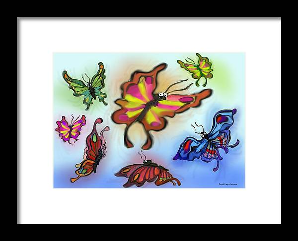 Butterfly Framed Print featuring the digital art Butterflies by Kevin Middleton
