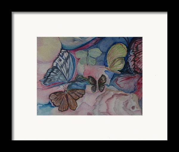 Watercolor Framed Print featuring the painting Butterflies by Marian Hebert