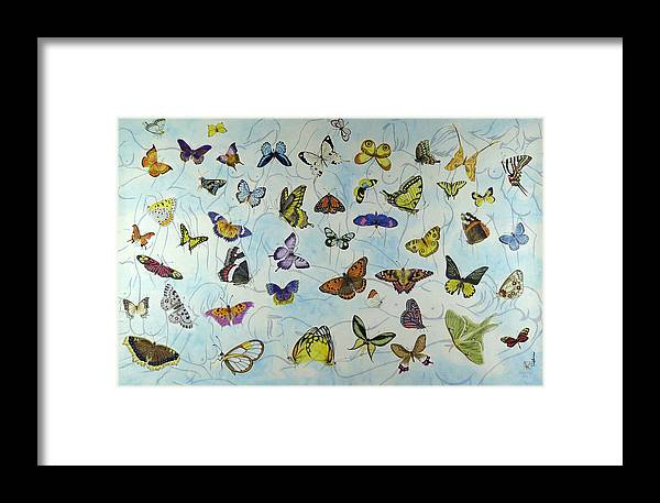 Butterflies Framed Print featuring the painting Butterflies by Ying Wong