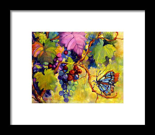 Butterfly Framed Print featuring the painting Butterfly And Grapes by Peggy Wilson