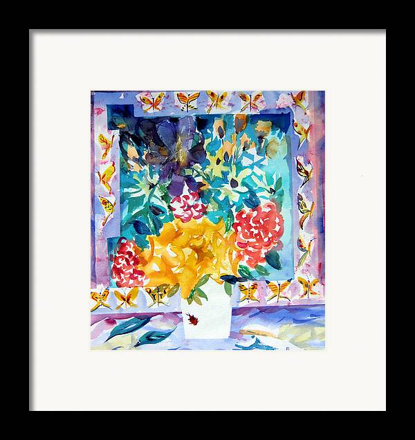 Roses Framed Prints Framed Print featuring the painting Butterfly Bouquet by Mindy Newman
