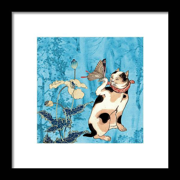 Japanese Art Framed Print featuring the painting Butterfly Charmer by Laura Botsford