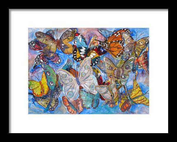 Butterfly Framed Print featuring the mixed media Butterfly Collage by Joyce Kanyuk