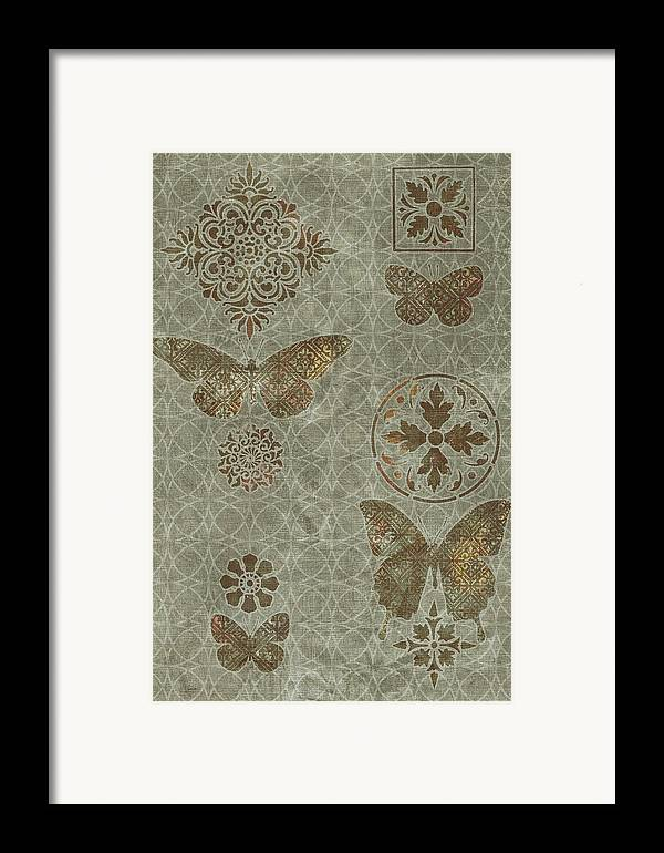 Flowers Framed Print featuring the painting Butterfly Deco 2 by JQ Licensing
