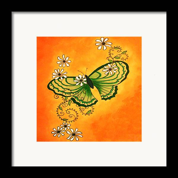Butterfly Framed Print featuring the painting Butterfly Doodle by Karen R Scoville