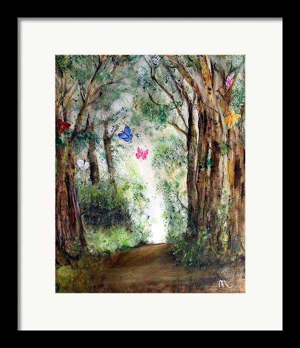 Landscape Framed Print featuring the painting Butterfly Forest by Michela Akers